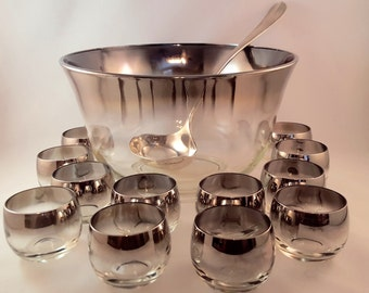 Dorothy Thorpe Style Punch Bowl and 12 Roly Poly Glasses