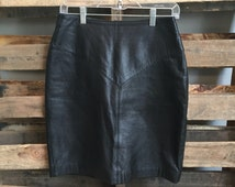 Tannery West black leather skirt, high waisted, size 10