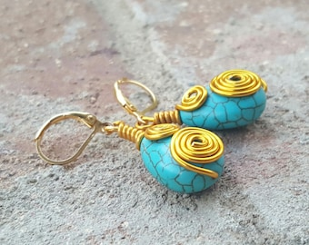Gold and Turquoise Wire Wrapped Drop Earrings