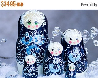 FLASH SALE 40% OFF Nesting Dolls Mother of Pearl 7.5''. 5 Ct  - Matryoshka Russian Wooden Doll