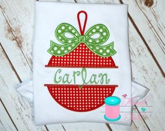 Christmas Ornament Applique Shirt, Christmas Shirt, Christmas Applique Shirt, Girls Christmas Shirt