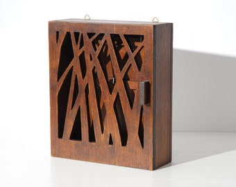 "Key box, key cabinet ""Nature""medium brown, wooden box for keys"