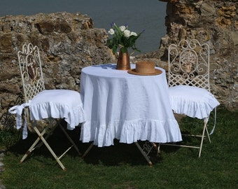 Ruffled Linen Tablecloth - Gorgeous Shabby Chic! 100% Stonewashed Linen