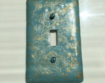 Blue-green and gold light switch plate cover birds, dragon flies and leaves, single switch plate with popular teal colors on standard size