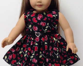 "Doll Dress in black and red fabric with Belt and Red Shoes- fits 18"" dolls like American Girl"