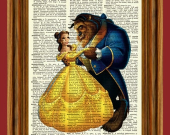 Beauty And The Beast Upcycled Dictionary Art Print Poster