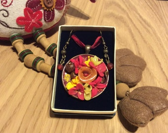 Necklace with earrings set in polymer clay - brown, peach orange, red, yellow anf lemon yellow