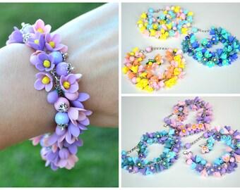 FREE EARRINGS! Wedding bridal flower purple violet lilac bracelet. Bride corsage. Bridesmaid flower bracelet. Polymer clay flowers jewelry