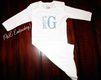 MONOGRAMMED Baby Boy GOWN - Personalized Baby Gift