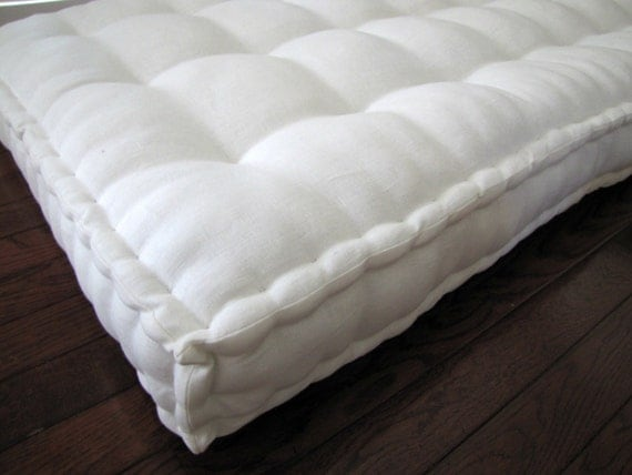 Mattress Ticking Custom Cushion Ivory Linen Daybed Cushion with French