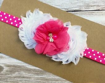 baby hair band- polka dot headband - hot pink and white hair band - pink polka dot hair band - pink headband - hairbands - girls headband