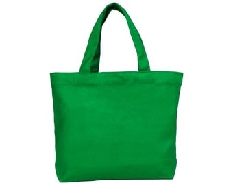 """Set of 12 Small Green 100% Cotton Natural Canvas Totes 11x8.5x2.5"""" - Perfect for DIY Projects!"""