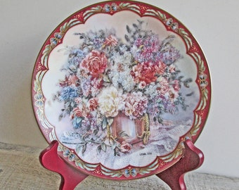 Vintage Limited Edition Flower Fairies Plate by Lena Liu 22 K Gold Wooden Stand