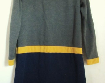 30% Off SaLE@@A Cute Vintage 60's Tri-Colored V -Neck HIPSTER iggy Dress.S