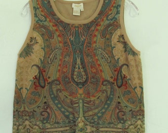 A Neat 90's,Tan Colored Sleeveless Cropped PAISLEY Print Top By PECK & PECK.M