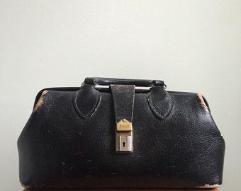 Vintage 1950s Leather Doctors Bag