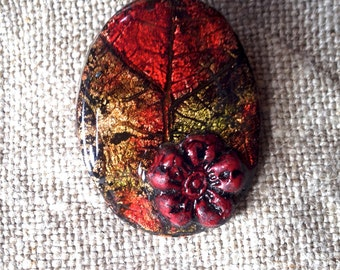 Leaf of autumn in polymer clay pendant