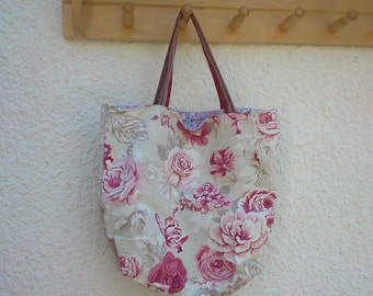 Floral tote bag withleather handles