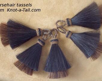 Horsehair tassel, Double stacked, Natural horsehair tassel, , 4 inches, Cinnamon-brown/black, horsehair tassel, boho tassel, necklace tassel