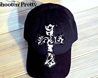 FREE SHIPPING* Black baseball cap with damask cross embelishment