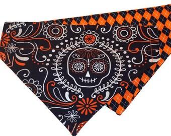 Halloween Dog Bandana - Silver Sugar Skulls