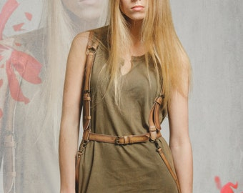 """SALE! Tan leather harness belt, harness leather, fashion nearness, body harness """"Night Out in Tan"""""""