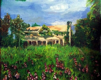 country home painting, floral, Purple Field, abandoned