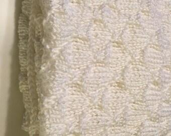 Handknit Baby Blanket White