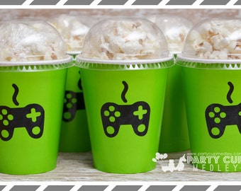 Video Gamer Birthday Party, Set of 8, 10 , 12, 20 or 24 Popcorn Cups