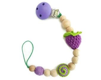 Pacifier Clip Holder Baby Pacifier Clip Pacifier Holder Dummy Holder Wooden Teether Teething Toy Personalized Pacifier Clip Purple Berry