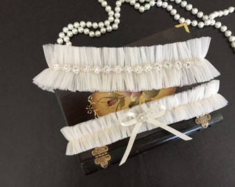 wedding garter set, tulle bridal garter set, rhinestone, bow