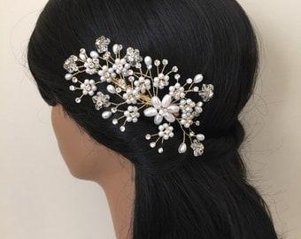 Wedding Headband, Bridal Hair Accessories, Wedding Headpiece, Ivory Pearl, Rhinestone, Comb