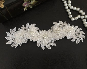 Bridal Hair Accessories, Wedding Head Piece, Ivory Beaded Lace, Pearl, Snap Clip
