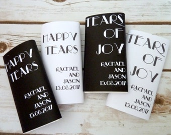 5 packs of personalised wedding pocket tissues. Any colour sleeve and print of your choice.