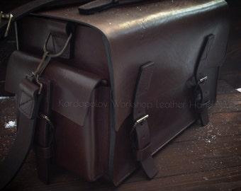 Handmade big shoulder leather bag