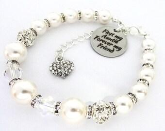 Swarovski - WHITE 3bd10m - First my Auntie Forever my Friend, Auntie bracelet, Auntie jewelry , Aunt bracelet, Auntie Gift,Auntie Chrstmas