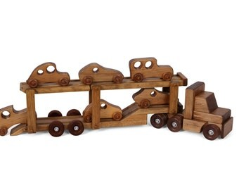 Retro Toys - Children's Wooden Tractor Trailer Car Carrier w/ 6 Cars *Harvest Stain* Amish Made in the USA - Model# 195CCH/Set