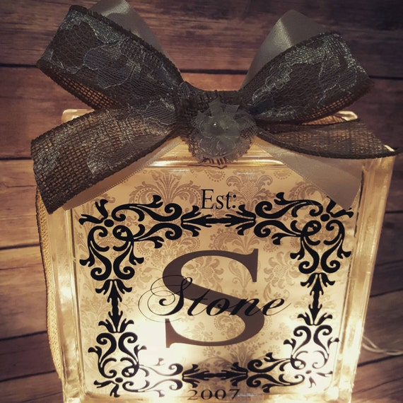 Personalized Glass Block Light Wedding Gift Wedding Decor