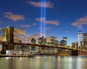September 11th memorial lights | New York City | Brooklyn Bridge Park | Never Forget | NYPD | NYFD | New Jersey | NJ | World Trade towers