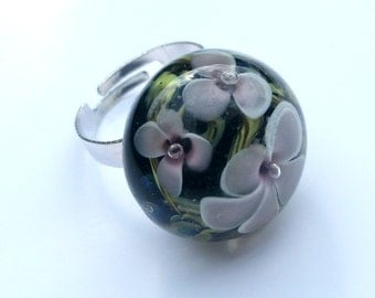 "cabochon ring glass lampwork ""focal 1"""