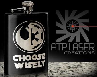 Choose Wisely- FK1014 Black, engraved flask,gift for him/her.