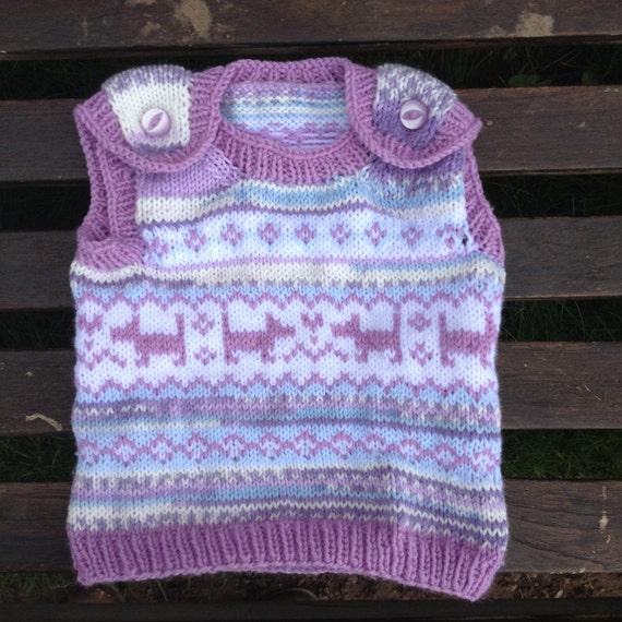 Baby Knitting Pattern - Puppy Love Fair Isle Baby Vest - Digital Do...