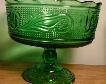 Vintage Green Glass E.O. Brody Co. Candy Dish