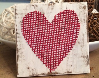 Burlap Heart Decor, Rustic Decor, Rustic Wedding, Reclaimed Wood, Home Decor
