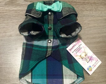 Dark green checked formal dog shirt with bow tie Dog tuxedo Wedding dog clothes Custom made dog clothes