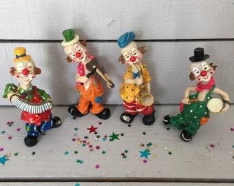 Musician Clown Figurines - Colorful and Fun,  Resin Figurines, Kids Room Decor, Clown Decor, Nursery Decor, Clown Band Figurines