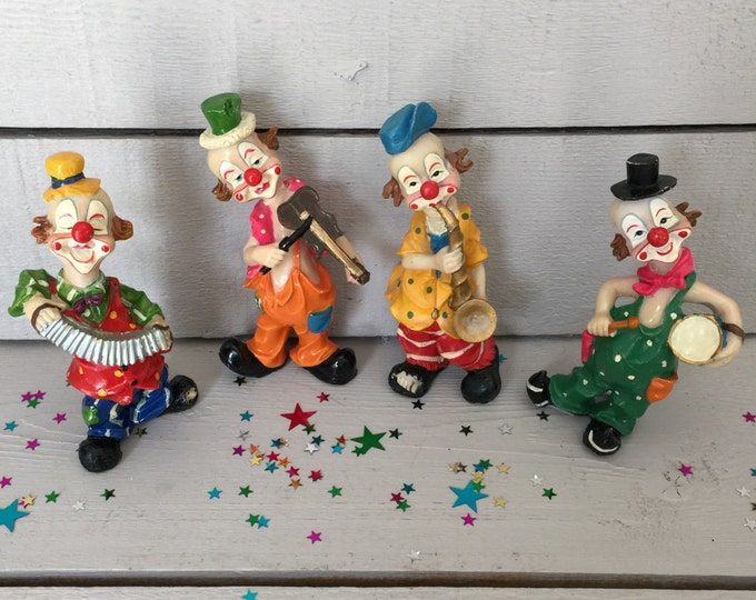 Musician Clown Figurines - Colorful and Fun,  Resin Figurines, Kids Room Decor, Clown Decor, Nursery Decor, Clown Band Figurines