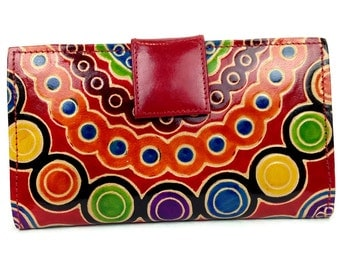 Genuine Leather handcrafted embossed womens wallet in Tribal design , Portefeuille Femmes , iPhone wallet, Mothers day gift