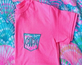Lilly Pulitzer Monogram Pocket Tshirt Frocket tee Many color shirts available! Youth and Adult sizes