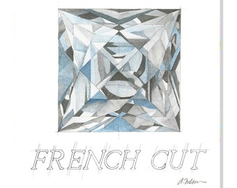 French Cut Diamond Watercolor Rendering printed on Canvas
